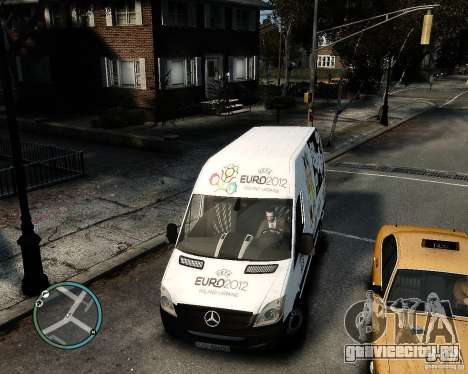 Euro 2012 Bus Mercedes Sprinter для GTA 4 вид сзади