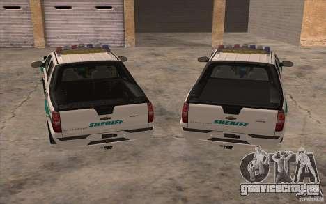 Chevrolet Avalanche Orange County Sheriff для GTA San Andreas вид сзади