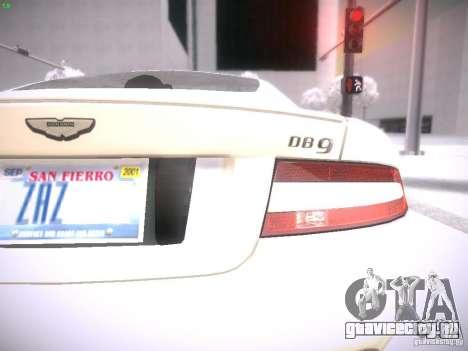 Aston Martn DB9 2008 для GTA San Andreas вид справа