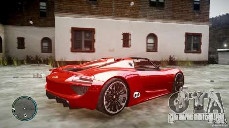 Porsche 918 Spyder Concept для GTA 4 вид слева