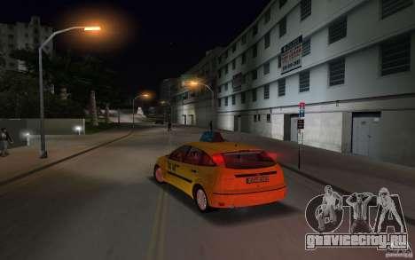 Ford Focus TAXI cab для GTA Vice City вид сзади слева