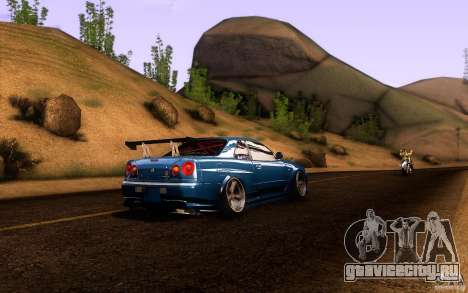 Nissan Skyline GT-R34 для GTA San Andreas вид изнутри