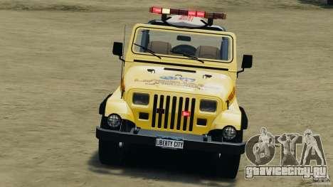 Jeep Wrangler 1988 Beach Patrol v1.1 [ELS] для GTA 4 вид сбоку