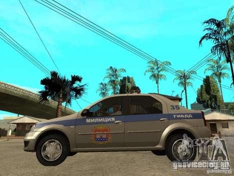 Dacia Logan Police для GTA San Andreas вид слева