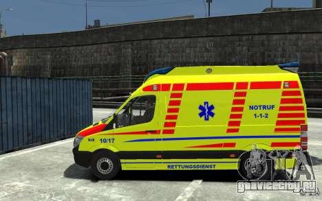 Mercedes-Benz Sprinter 2011 Ambulance для GTA 4 вид слева