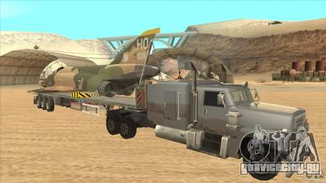 Flatbed trailer with dismantled F-4E Phantom для GTA San Andreas вид сзади
