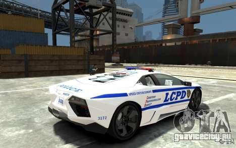 Lamborghini Reventon LCPD для GTA 4 вид справа