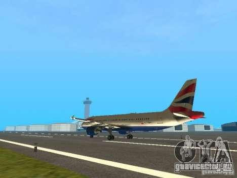 Airbus A320 British Airways для GTA San Andreas вид сзади слева