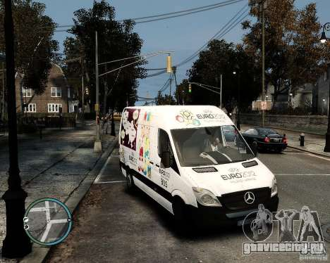 Euro 2012 Bus Mercedes Sprinter для GTA 4 вид справа