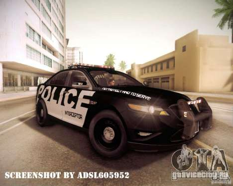 Ford Taurus Police Interceptor 2011 для GTA San Andreas вид изнутри