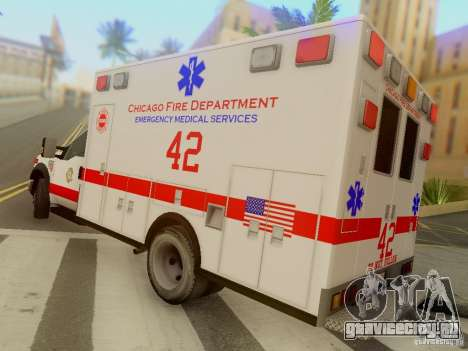 Ford F350 Super Duty Chicago Fire Department EMS для GTA San Andreas вид сзади слева