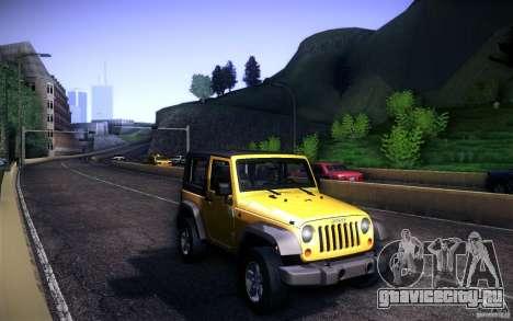 Jeep Wrangler Rubicon 2012 для GTA San Andreas вид изнутри