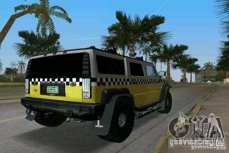Hummer H2 SUV Taxi для GTA Vice City вид сзади слева