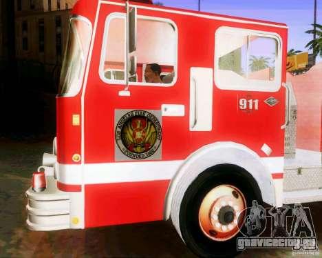 Pumper Firetruck Los Angeles Fire Dept для GTA San Andreas вид сзади