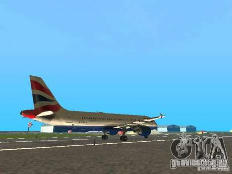 Airbus A320 British Airways для GTA San Andreas вид справа