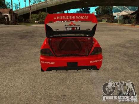 Mitsubishi Lancer Evo IX DiRT2 для GTA San Andreas вид снизу