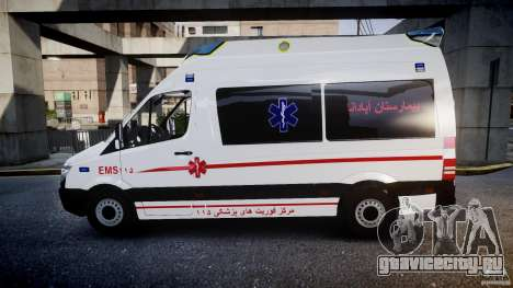 Mercedes-Benz Sprinter Iranian Ambulance [ELS] для GTA 4 вид слева