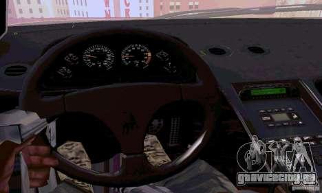 Lamborghini Diablo SV 1997 для GTA San Andreas вид изнутри