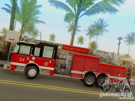 Pierce Tower Ladder 54 Chicago Fire Department для GTA San Andreas вид слева