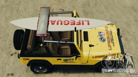 Jeep Wrangler 1988 Beach Patrol v1.1 [ELS] для GTA 4 вид справа