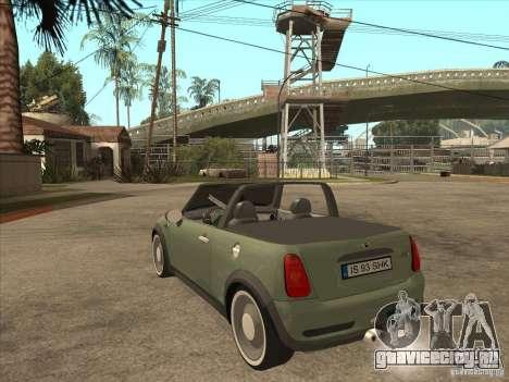 Mini Cooper S Cabrio для GTA San Andreas вид справа