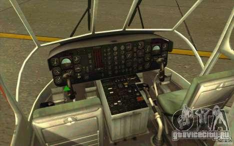 Sikorsky Air-Crane S-64E для GTA San Andreas вид изнутри