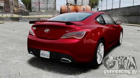 Hyundai Genesis Coupe 2013 для GTA 4 вид сзади слева