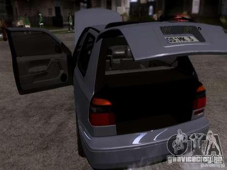 Volkswagen Golf 3 VR6 для GTA San Andreas вид изнутри