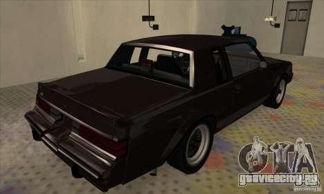 Buick Regal GNX 1987 для GTA San Andreas вид сзади слева