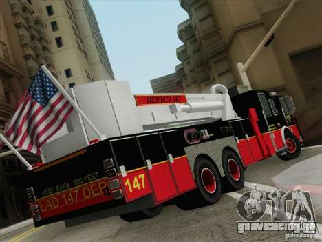 Seagrave Marauder II. SFFD Ladder 147 для GTA San Andreas вид сзади слева