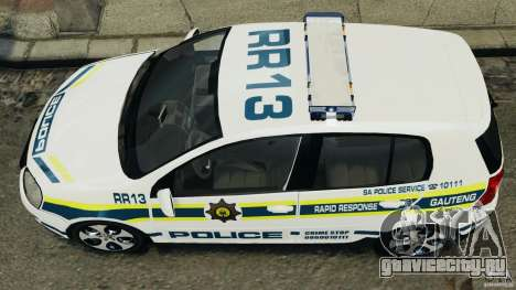 Volkswagen Golf 5 GTI South African Police [ELS] для GTA 4 вид сзади слева