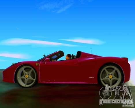 Ferrari 458 Spider для GTA San Andreas вид изнутри