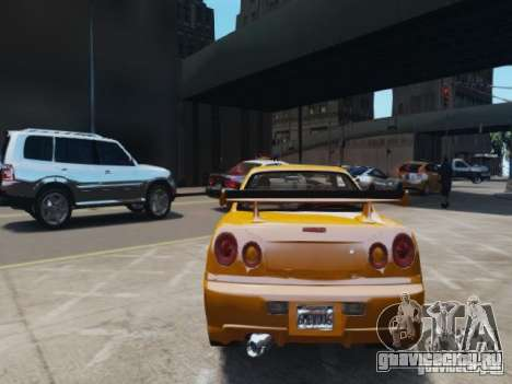 Nissan Skyline GT-R R34 Fast and Furious 4 для GTA 4 вид справа