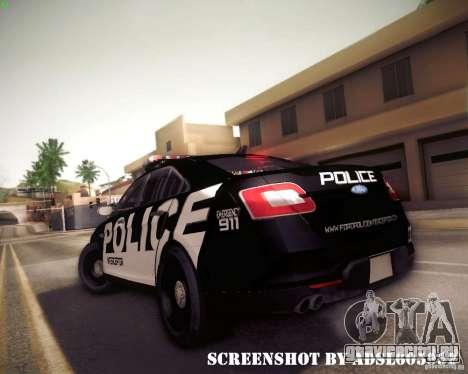 Ford Taurus Police Interceptor 2011 для GTA San Andreas вид сзади
