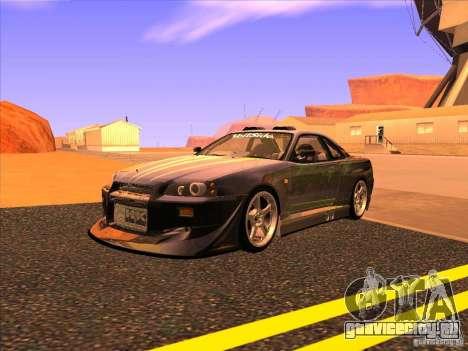 Nissan Skyline R34 Tunable для GTA San Andreas вид сбоку