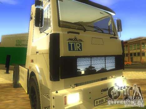 МАЗ Turbo 5432 для GTA San Andreas вид изнутри