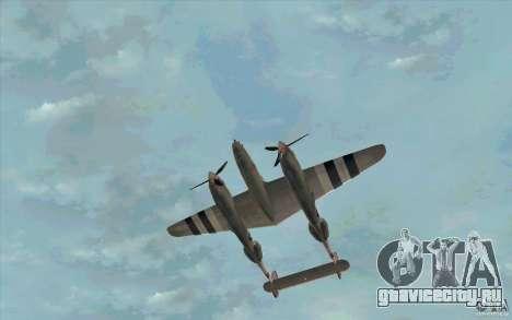P38 Lightning для GTA San Andreas вид изнутри