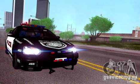 Subaru Impreza WRX STI Police Speed Enforcement для GTA San Andreas вид сзади слева