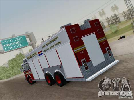 E-One F.D.N.Y Fire Rescue 1 для GTA San Andreas вид сзади слева