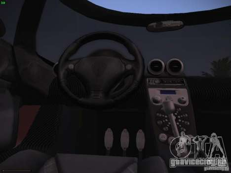 Koenigsegg CCX 2006 для GTA San Andreas вид изнутри