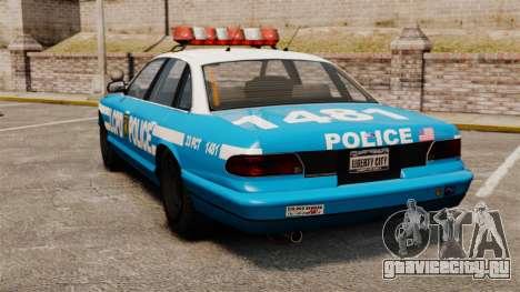 Vapid Police Cruiser ELS для GTA 4 вид сзади слева