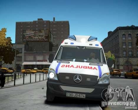 Mercedes-Benz Sprinter Azerbaijan Ambulance v0.2 для GTA 4 вид изнутри