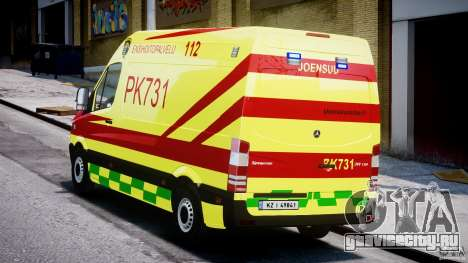 Mercedes-Benz Sprinter PK731 Ambulance [ELS] для GTA 4 вид сзади слева