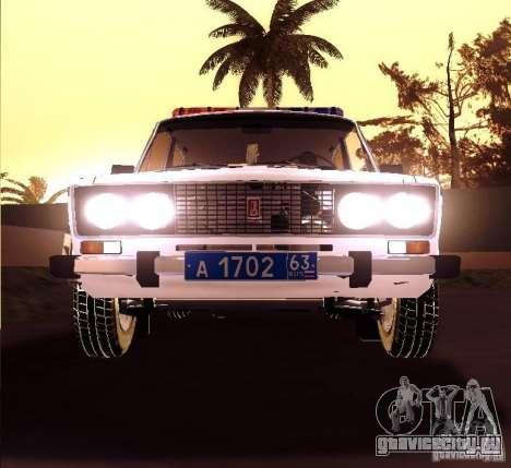 ВАЗ 2106 Полиция v2.0 для GTA San Andreas вид сзади