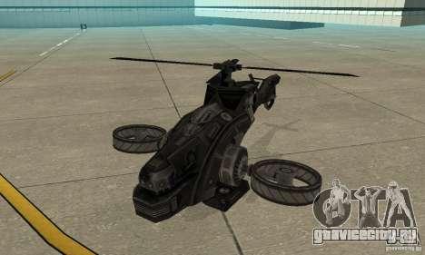 Вертолёт из игры TimeShift Черный для GTA San Andreas вид слева