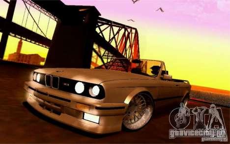 BMW E30 M3 Cabrio для GTA San Andreas вид изнутри