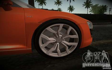 Audi R8 V10 Spyder 5.2. FSI для GTA San Andreas вид сзади