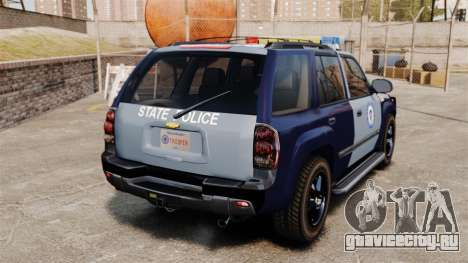 Chevrolet Trailblazer 2002 Massachusetts Police для GTA 4 вид сзади слева