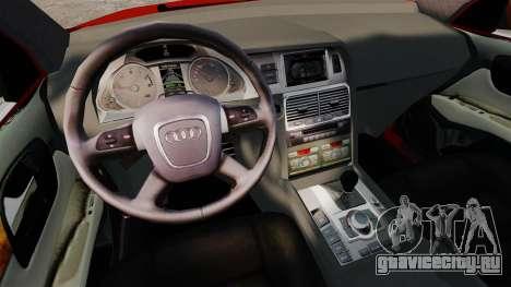 Audi Q7 для GTA 4 вид изнутри