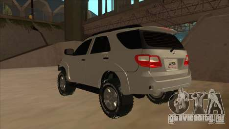 Toyota Fortunner 2012 Semi Off Road для GTA San Andreas вид сзади